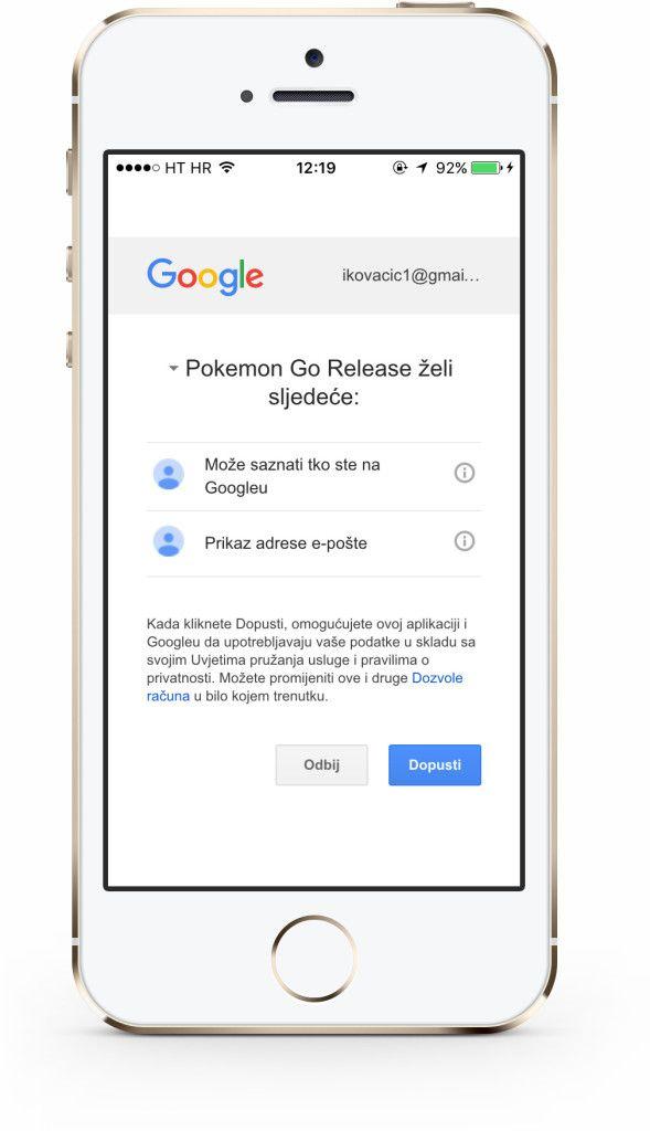 Pokémon GO Google dopuštenje