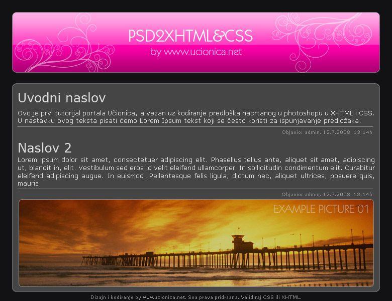 PSD u XHTML i CSS 01