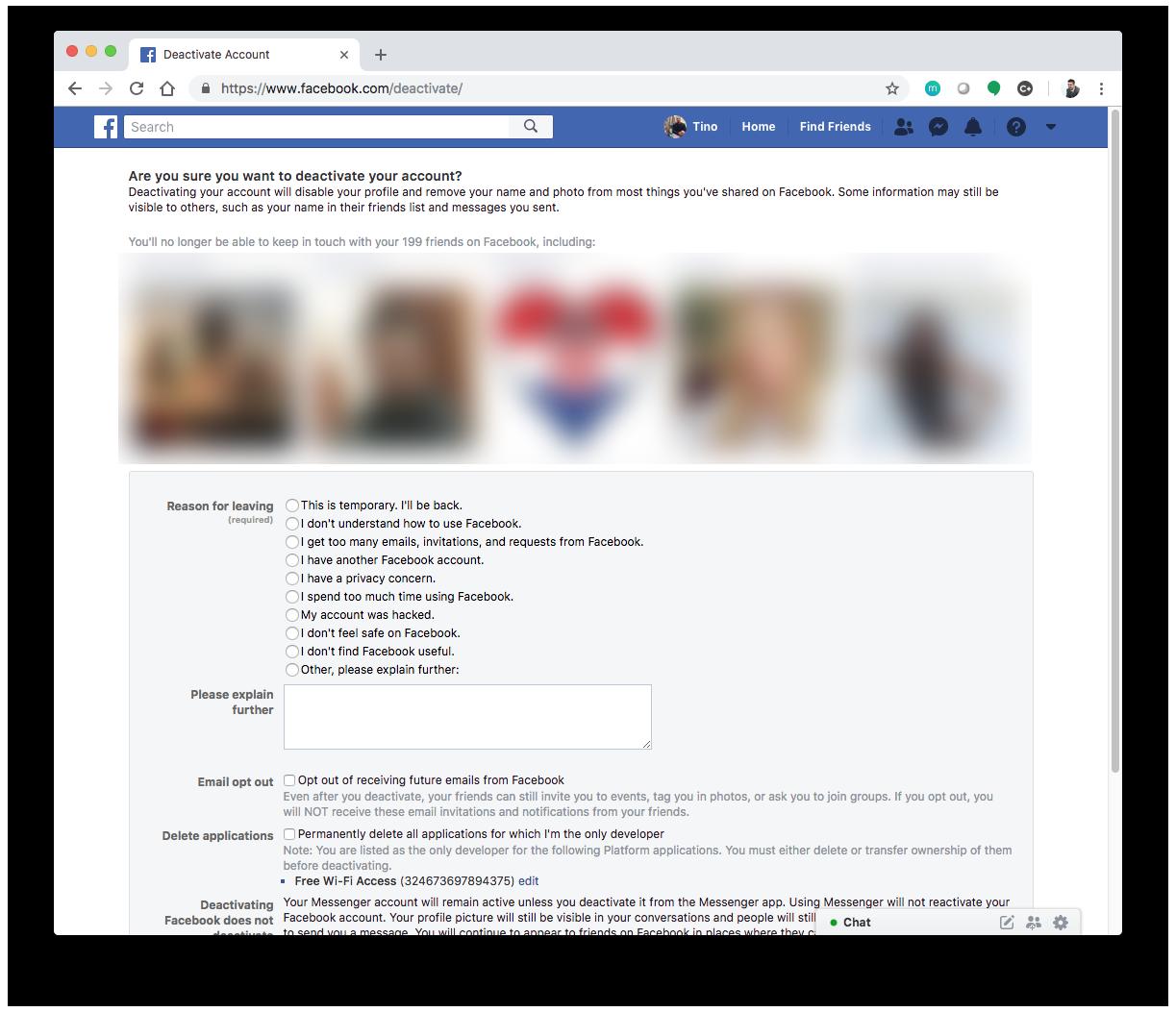Kako ugasiti fb profil preko telefona