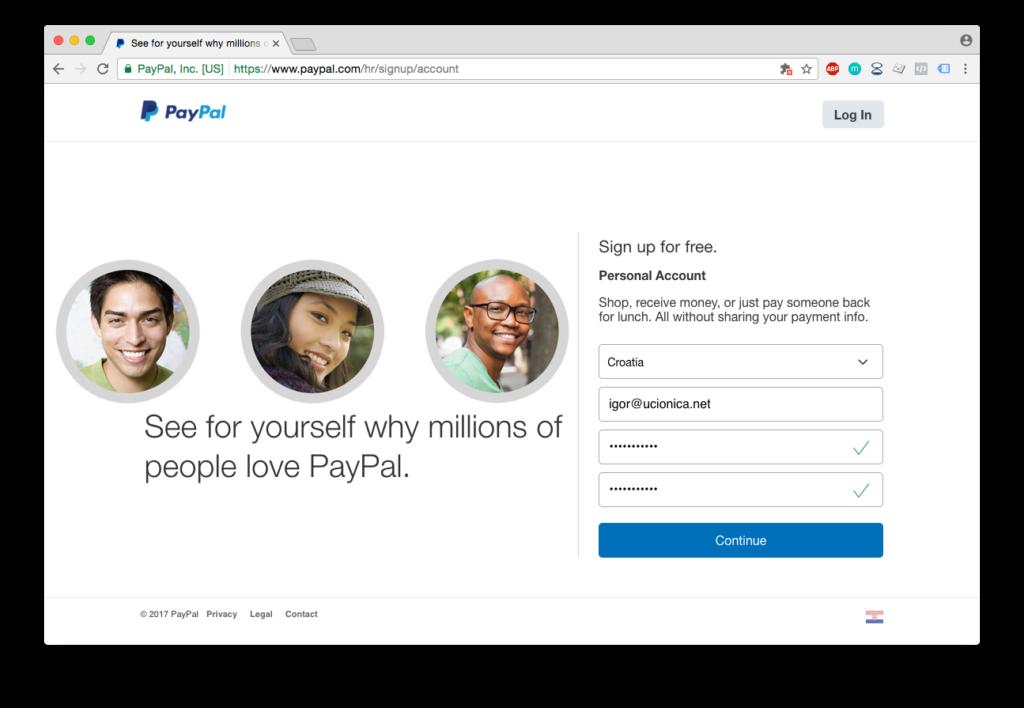 PayPal registracija - email i lozinka