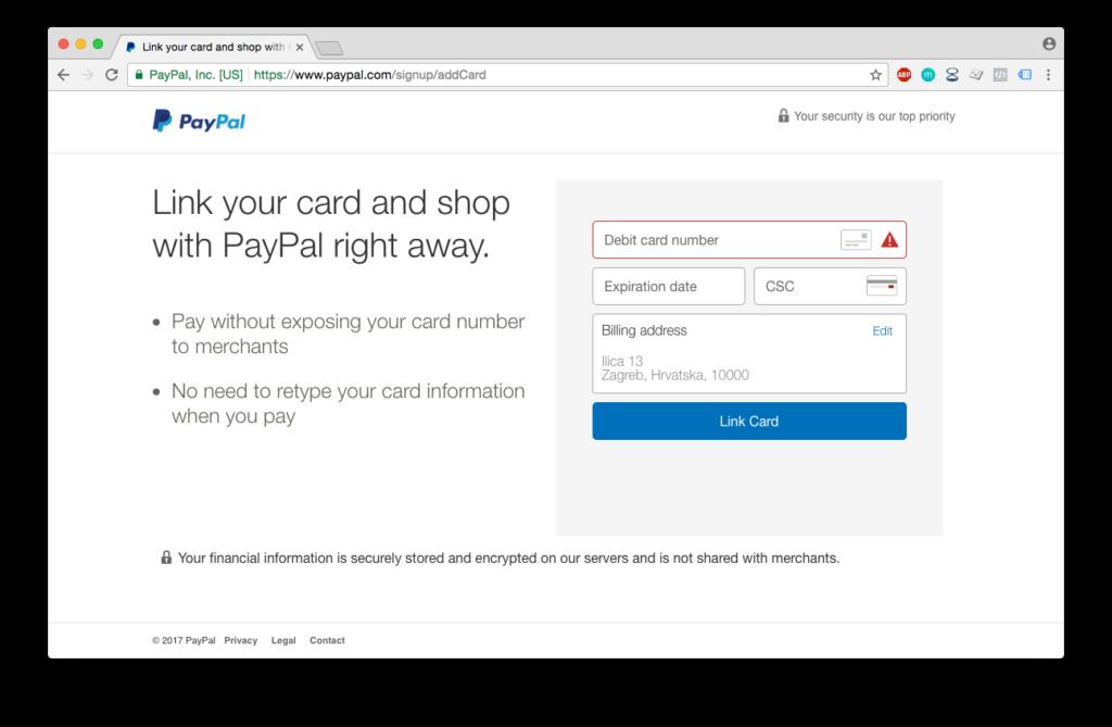 PayPal registracija - unos podataka o kartici