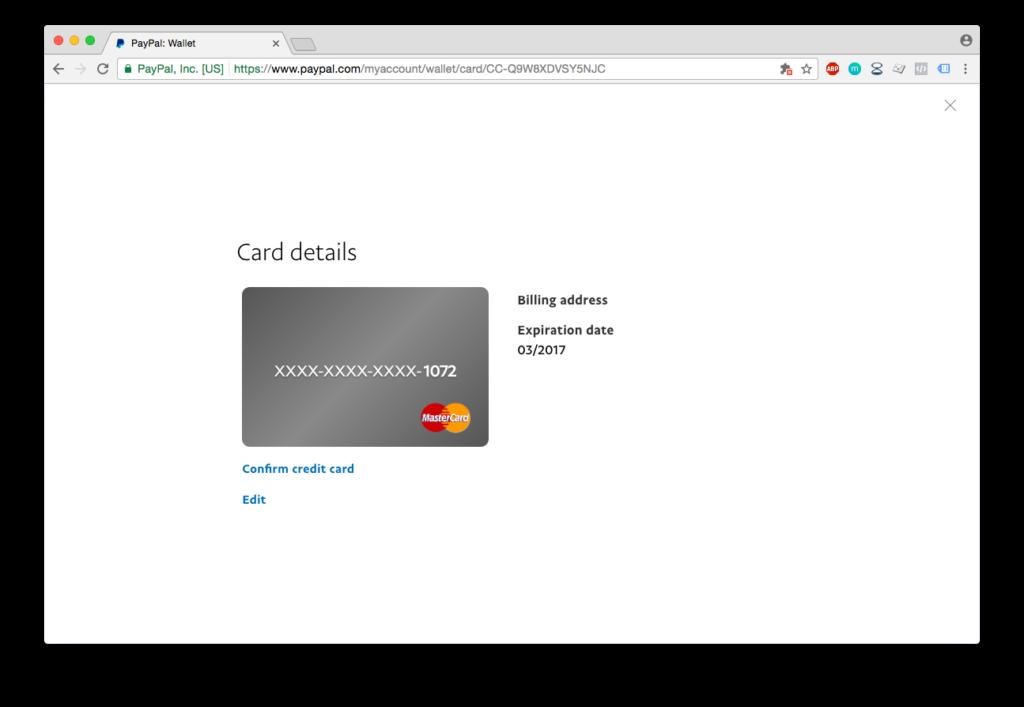 PayPal registracija - potvrda kartice