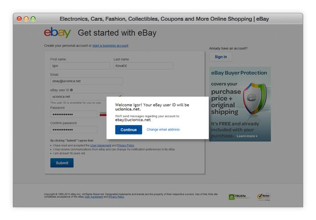 eBay potvrda registracije