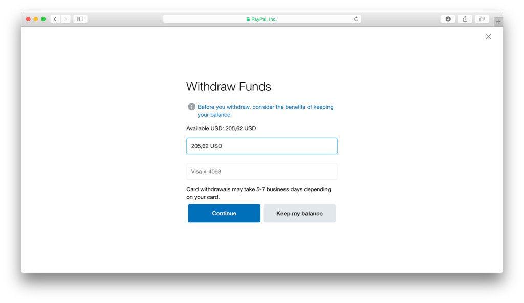 PayPal unos iznosa