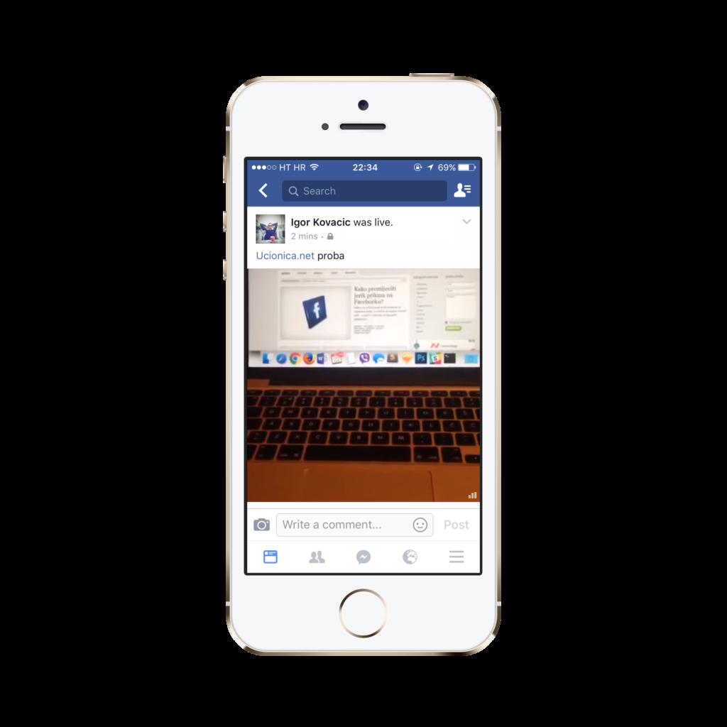 Facebook live objava